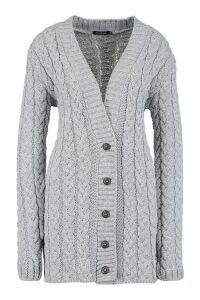 Womens Cable Knit Cardigan - grey - M/L, Grey