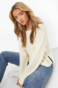 Womens Off The Shoulder Slouchy Jumper - White - M, White