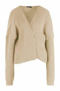 Womens Oversized Rib Crop Cardigan - beige - S/M, Beige