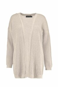 Womens Edge To Edge Waffle Knit Cardigan - Beige - M/L, Beige