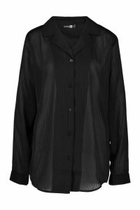 Womens Tall Sheer Stripe Woven Shirt - black - 10, Black
