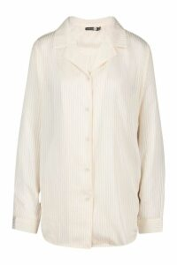 Womens Tall Sheer Stripe Woven Shirt - white - 10, White