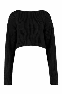 Womens Crop Slash Neck Jumper - black - M/L, Black