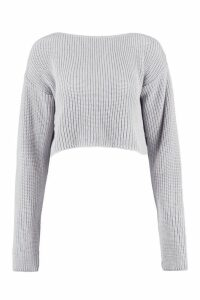Womens Crop Slash Neck Jumper - grey - M/L, Grey