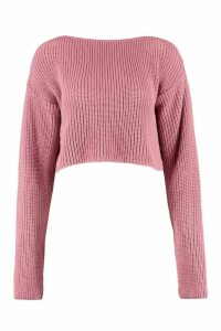 Womens Crop Slash Neck Jumper - pink - S/M, Pink
