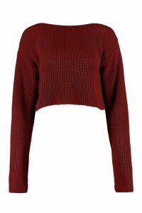 Womens Crop Slash Neck Jumper - red - M/L, Red