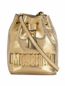 Moschino metallic crystal-embellished bucket bag - GOLD