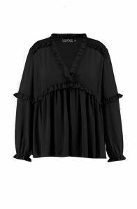 Womens Plus Ruffle Detail Plunge Blouse - black - 20, Black