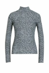Womens Leopard Print Brushed Knitted Top - grey - 14, Grey