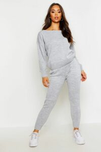 Womens Slash Neck Knitted Set - Grey - M, Grey