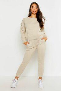 Womens Slash Neck Knitted Set - beige - M, Beige