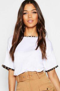 Womens Leopard Print Ringer T-Shirt - White - 8, White