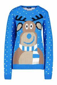 Womens Reindeer Scarf Christmas Jumper - blue - S, Blue