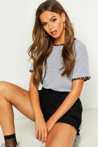 Womens Leopard Print Ringer T-Shirt - Grey - 8, Grey