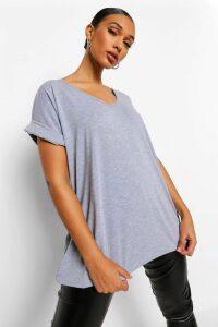 Womens Oversized Boyfriend V Neck T-Shirt - Grey - M/L, Grey