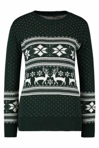 Womens Reindeer Fairisle Christmas Jumper - green - M/L, Green