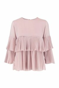 Womens Woven Pleated Smock Top - pink - 14, Pink