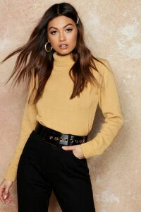 Womens Roll Neck Crop Jumper - beige - S, Beige