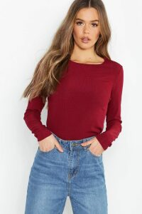 Womens Rib Long Sleeve Basic Crew Neck Top - red - 8, Red