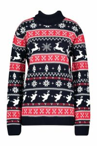 Womens Fairisle Christmas Jumper - navy - M, Navy