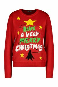 Womens Merry Christmas Flashing Light Jumper - red - L, Red