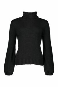 Womens Oversized Roll Neck Jumper - black - L, Black