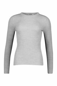 Womens Rib Crew Neck Jumper - grey - L, Grey