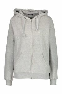 Womens Basic Zip Through Hoody - grey - 8, Grey