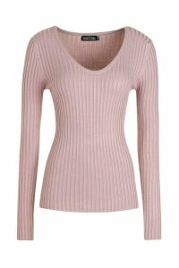 Womens Ribbed V-Neck Jumper - pink - S, Pink