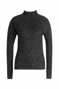 Womens Rib Knit Roll Neck Jumper - black - S, Black
