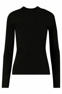 Womens Ribbed roll/polo neck Jumper - black - L, Black