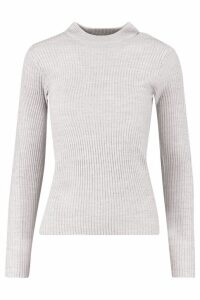 Womens Ribbed roll/polo neck Jumper - grey - S, Grey