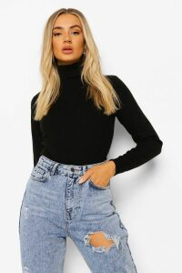 Womens Ribbed Roll/Polo Neck Jumper - Black - Xs, Black