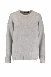 Womens Oversized Jumper - grey - S, Grey