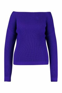 Womens Plus V Back Oversized Jumper - purple - 22, Purple