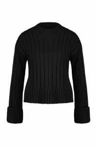 Womens Petite Rib Knit High Neck Jumper - black - 14, Black