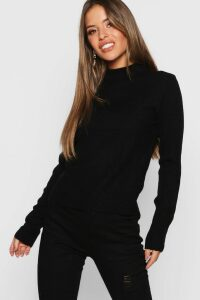 Womens Petite Ribbed Roll Neck Jumper - Black - M, Black