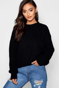 Womens Petite Ivy Oversized Jumper - Black - 8, Black