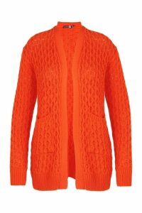 Womens Plus Crochet Knitted Oversized Cardigan - orange - 18, Orange