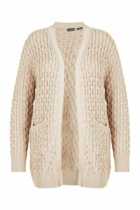 Womens Plus Crochet Knitted Oversized Cardigan - beige - 18, Beige
