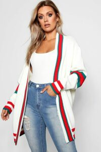 Womens Plus Contrast Stripe Oversized Cardigan - white - 22, White