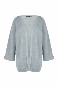 Womens Plus Chunky Oversized Cardigan - grey - 20, Grey