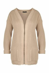Womens Plus Chunky Oversized Cardigan - beige - 20, Beige