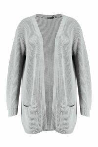 Womens Plus Boyfriend Knitted Cardigan - grey - 20, Grey