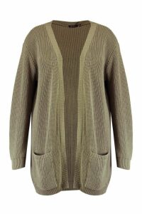 Womens Plus Boyfriend Knitted Cardigan - green - 16, Green