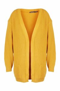 Womens Plus Boyfriend Knitted Cardigan - yellow - 20, Yellow