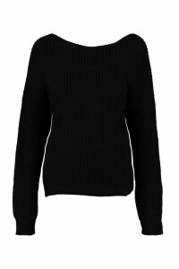 Womens Petite Knot Back Oversized Jumper - black - M/L, Black