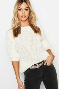 Womens Petite Off The Shoulder Waffle Knit Jumper - white - M, White