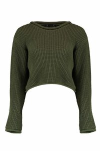 Womens Petite Roll Hem Cropped Jumper - green - 4, Green