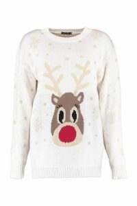 Womens Snowflake Reindeer Christmas Jumper - white - M/L, White